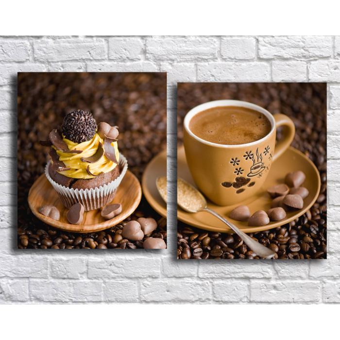 Модульная картина Кофе кекс и шоколад