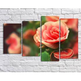 Алая роза -  (картина из 4 частей)