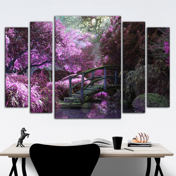 Модульная картина Мостик в фиолетовом саду